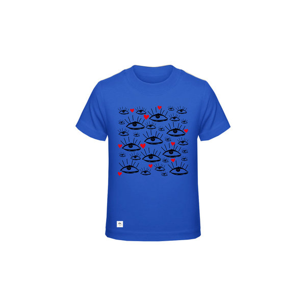 "Kinder Shirt ""All Eyes on me"", Amazonblau"